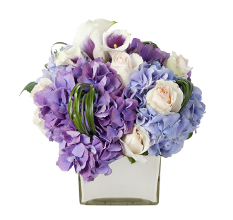 Plush and Purple Flower Arrangement