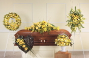Yellow Funeral Flower Tribute