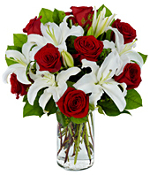 White Lilies and Red Roses